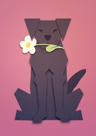 Анимация Пес с цветком в пасти на розовом фоне, by Szczurzyslawa