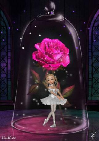Анимация Балерина танцует под колпаком с розовой розой