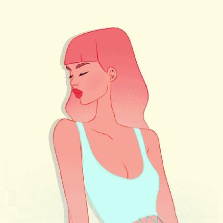 Анимация Розоволосая девушка поворачивает голову в сторону, by boooi