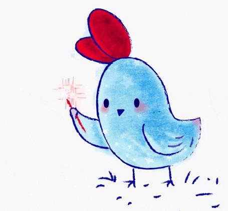Анимация Голубая курица с бенгальским огнем