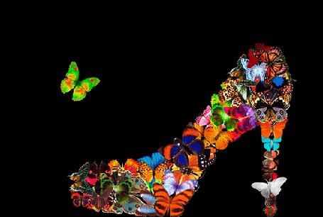 Анимация На черном фоне женская туфелька разлетается в стороны множеством разноцветных бабочек