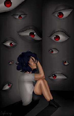 Анимация Напуганная грустная девочка сидит на полу комнаты, из стен которой за ней наблюдает множество красных глаз, by Liphoeryx