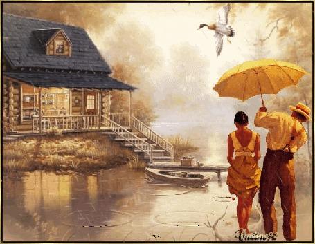 Анимация Девушка и мужчина с зонтом стоят на берегу речки около бревенчатого домика, над ними в небе пролетает утка