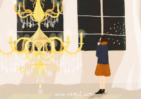 Анимация Девушка стоит у окна и любуется салютом, by Oamul Lu