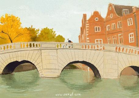 Анимация По каменному мосту через реку проезжает велосипедист, by Oamul Lu