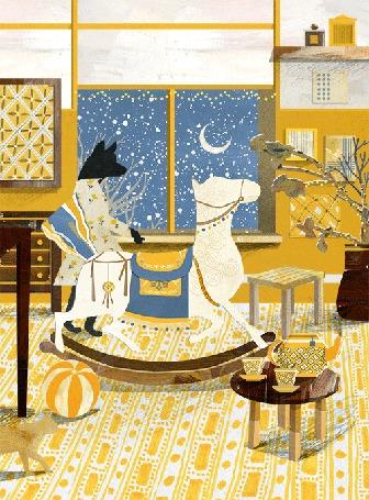 Анимация В комнате черный волк в платье смотрит в окно, за которым видны полумесяц луны и падающий снег, рядом качается игрушечная лошадка, by Nancy Liang