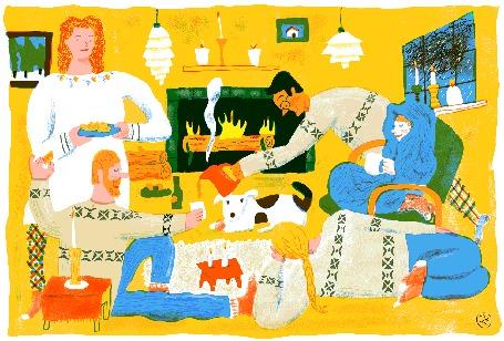 Анимация Уютные посиделки с чаепитием у камина, лубочная картинка в стиле Hygge