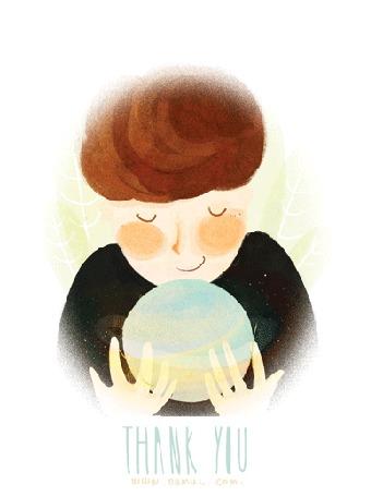Анимация Мальчик держит планету в руках (Thank you / Спасибо)