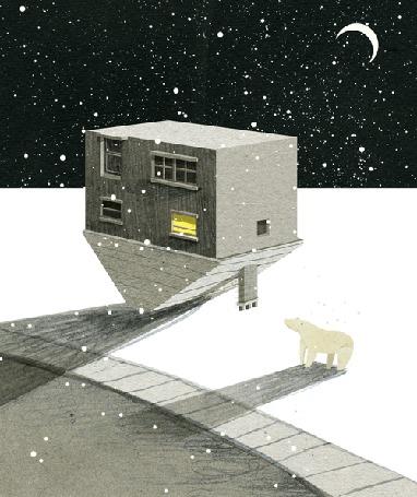 Анимация Перевернутой дом под под падающим вверх снегом, рядом белый медведь, в небе луна, by Nancy Liang