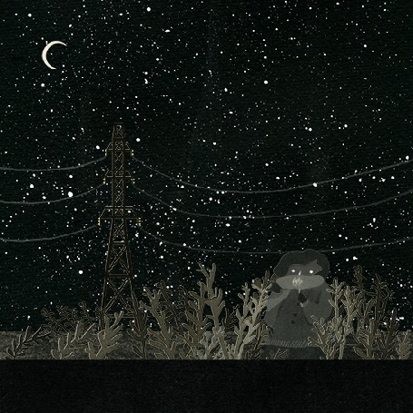 Анимация Звездное небе с полумесяцем луны, под высоковольтной линией в зарослях ребенок дует на одуванчик, с которого улетают ввысь маленькие парашютики семян