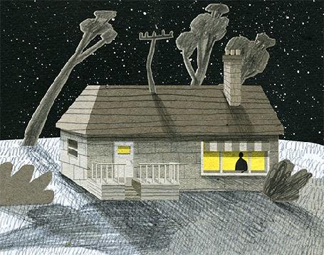 Анимация Деревья склоняются от сильного ветра и нависают над маленьким домиком, в окне которого виден силуэт человека, by Oаmul Lu