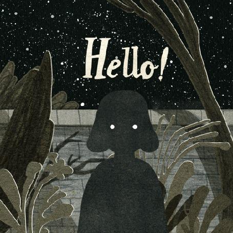 Анимация Силуэт девушки среди зарослей странных растений под звездным небом (Hello! / Привет!), by Nancy Liang