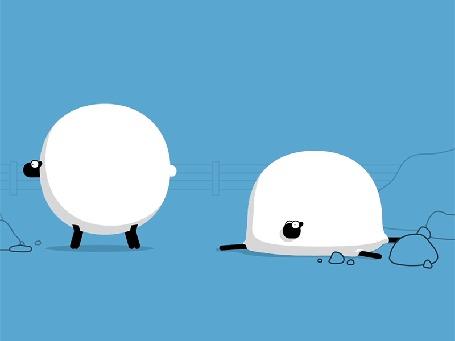 Анимация Прикольные барашки на голубом фоне