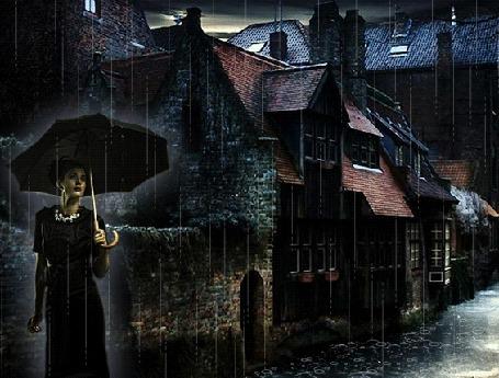 Анимация Девушка стоит спрятавшись от дождя под зонтиком на ночной улице