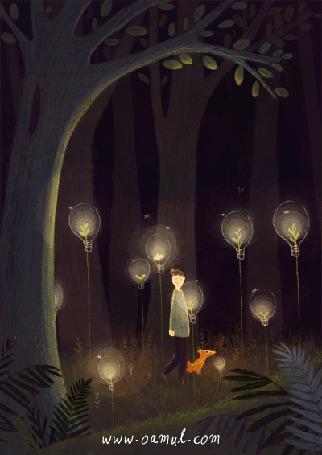 Анимация Мальчик со щенком в лесу, by Oamul Lu