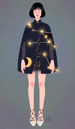 Анимация Девушка в пальто, на котором сверкают звезды и месяц, by SALI255