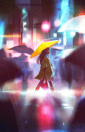 Анимация Девушка с желтым зонтом идет по дождливому городу, by jennyyuu