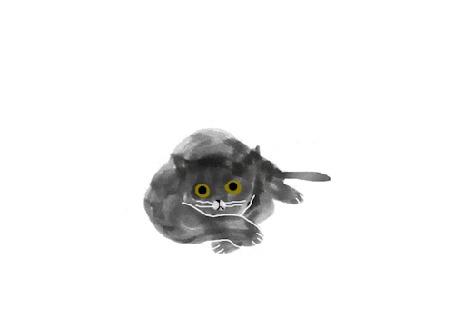 Анимация Сонный кот открывает и закрывает глаза, by keito-e