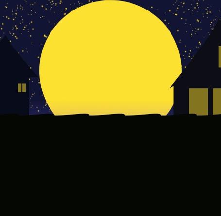 Анимация Черный кот идет по черный крыше на фоне домов и луны, by RetSamys