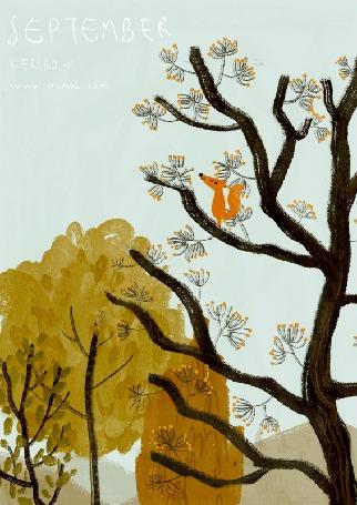 Анимация Лиса сидит на дереве, (September / сентябрь), by Oamul Lu