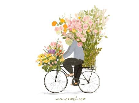 Анимация Мужчина с цветами едет на велосипеде, by Oamul Lu