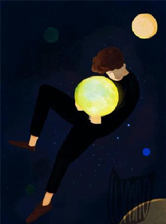 Анимация Парень с луной парит в воздухе на фоне ночного неба, by Oamul Lu