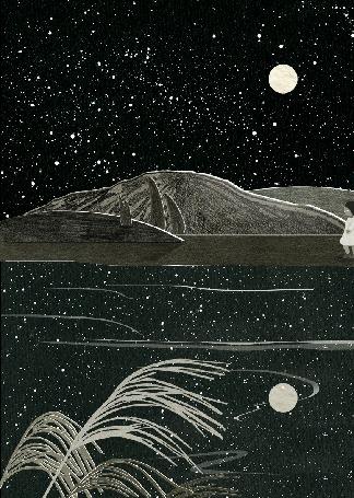 Анимация Девочка идет ночью по берегу, в воде отражается луна, by Nancy Liang
