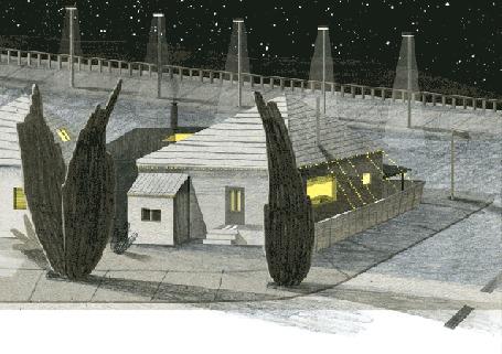 Анимация Лодка пролетает по воздуху мимо домов, by Nancy Liang