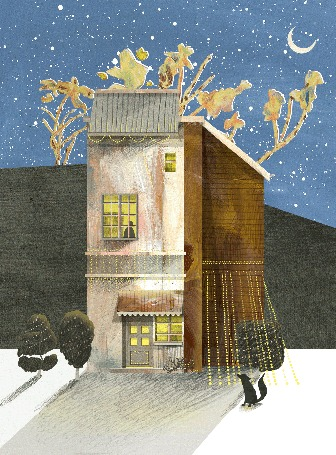 Анимация Черная лисица сидит у двухэтажного дома, рядом деревья, украшенные праздничной иллюминацией, by Nancy Liang
