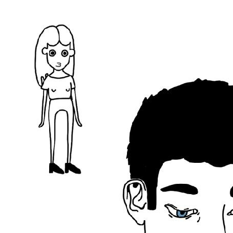 Анимация Парень представляет в мечтах свою девушку, но вдруг она расплывается и исчезает