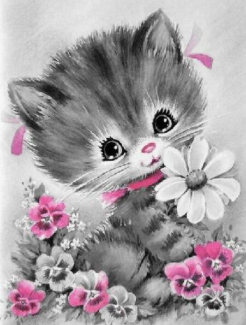 Анимация Котенок стоит в цветах
