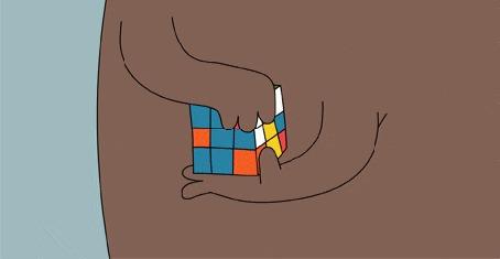 Анимация Медведь собирает кубик Рубика