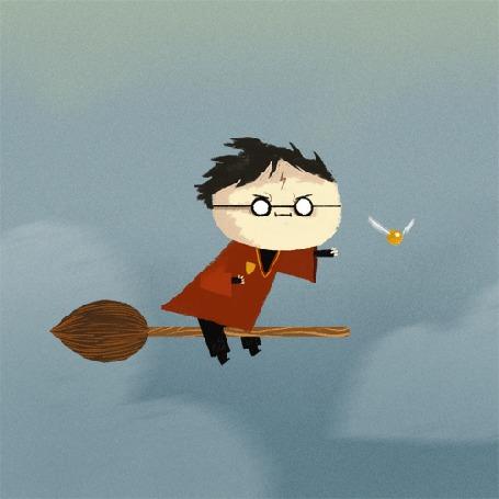 Анимация Гарри Поттер летит по небу