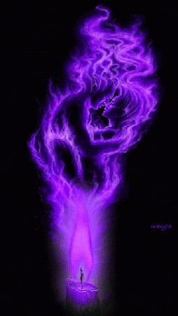 Анимация Пылающие силуэты влюбленных над пламенем свечи на черном фоне, by maryia