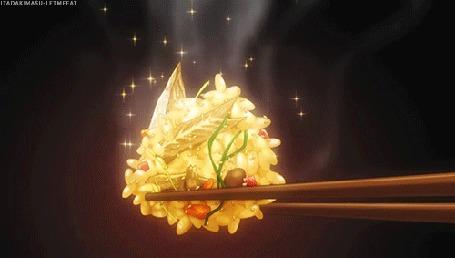 Анимация На палочках для еды шарик ризотто из аниме Повар-боец Сома / Shokugeki no Souma