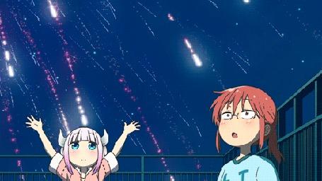 Анимация Кобаяши / Kobayashi и Канна Камуи / Kanna Kamui из аниме Дракон-горничная Кобаяши / Kobayashi-san Chi no Maid Dragon любуются салютом