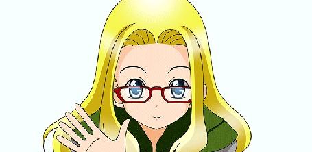 Анимация Светловолосая девушка в очках с сердечком, by L3Moon-Studios