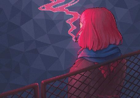 Анимация Розоволосая девушка курит сигарету, by DoraIIngrid
