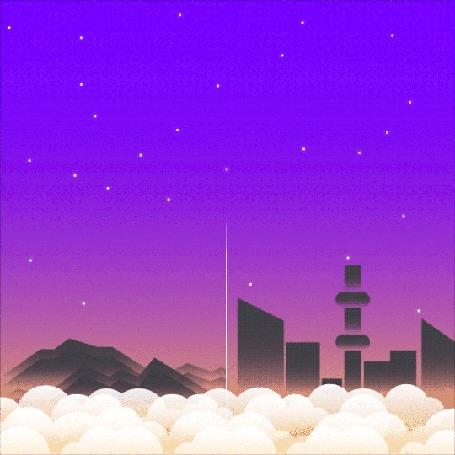 Анимация Падающие кометы над городом