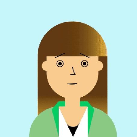 Анимация Девушке перед лицом подносят телефон и на снимке появляется человек с рогами
