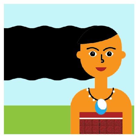 Анимация Девушка с волосами, на которых появляется парусник