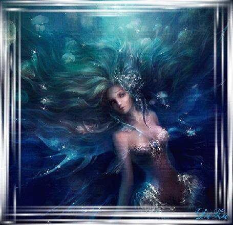 Анимация Богиня воды со струящимися волосами в сверкающей одежде, by DiZa