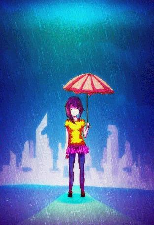 Анимация Девушка с сиреневыми волосами и в желтой футболке держит розовый зонт под дождем, by bestspangya
