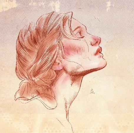Анимация Из глаза девушки появляется розовый цветок, by Aykut Aydogdu