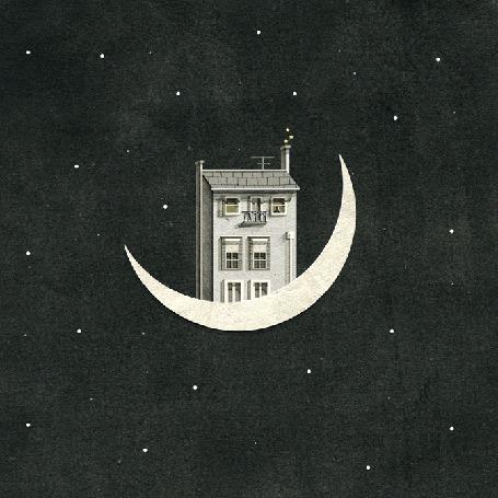 Анимация Дом с дымящейся трубой стоит на полумесяце луны