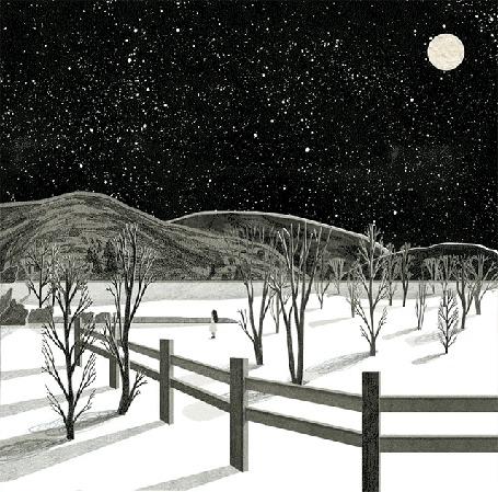 Анимация Огромный дирижабль летит по звездному небу, за ним наблюдает девушка, by Nancy Liang