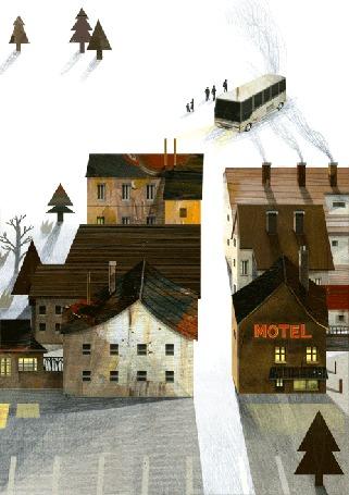 Анимация Сельский пейзаж зимой - двухэтажные домики, с клубами дыма над крышами, вдоль узенькой улицы, деревья и вдали автобус со стоящими рядом людьми, by Nancy Liang