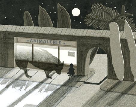Анимация Призрак волка бежит за маленькой девочкой