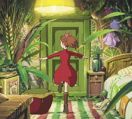 Анимация Ариэтти из страны лилипутов / Karigurashi no Arrietty из одноименного аниме кружится
