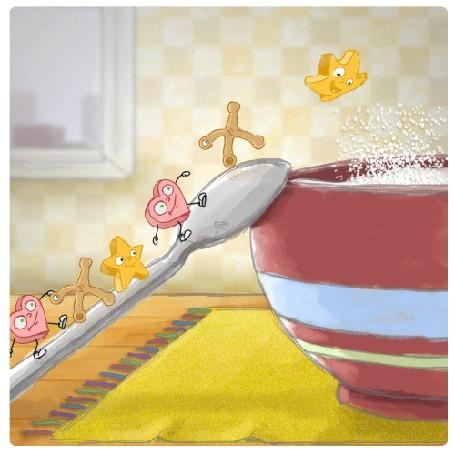 Анимация Смешные фигурки поднимаются по ложке и прыгают в миску